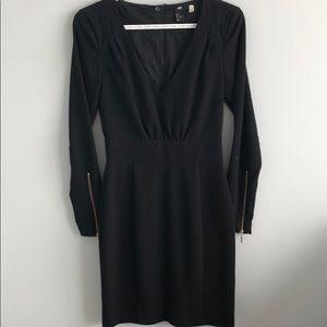Topshop Long Sleeve Black Dress